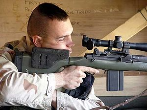 US Marine Corps Designated Marksman, armed wit...