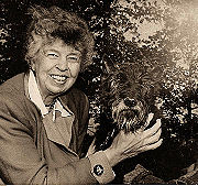 Eleanor and Fala, the Roosevelts' dog during the White House years