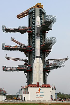 GSLV-F08 at the Umbilical Tower of the Second Launch Pad.jpg