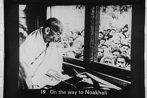 Gandhi on the way to Noakhali
