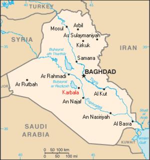 Iraq map karbala