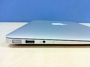 MagSafe power plug and USB and headphone and m...