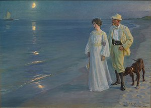 P.S. Kroyer: Summer evening on Skagen's beach ...