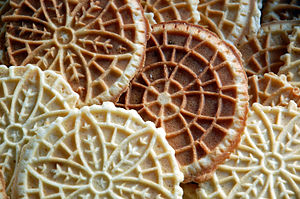 Pizzelle in a loose stack.