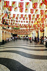 The Portuguese style road in Macau