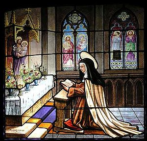 Santa Teresa de Avila, pintura vidrio en Conve...