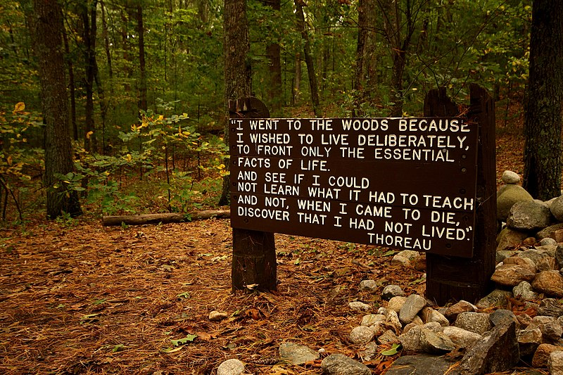 File:Thoreaus quote near his cabin site, Walden Pond.jpg