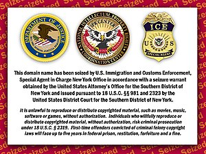 English: Notice of web site seizure from the U...