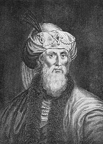 The romanticized woodcut engraving of Flavius ...