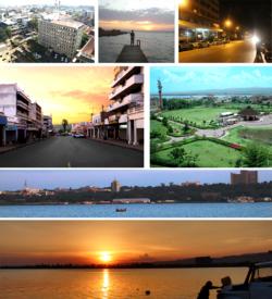 Clockwise: Lake Victoria Panorama, Kisumu Panorama, sunset at Oginga Odinga street, Downtown, Kiboko Point, Nighttime in Kisumu and Jomo Kenyatta Stadium.
