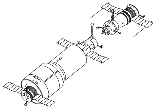 Salyut 1 and Soyuz drawing