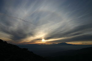 English: A solar halo during Sunset is clearly...