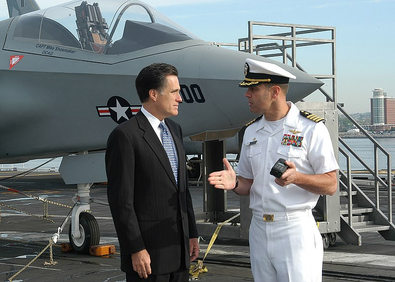 File:US Navy 050520-N-4549D-002 USS John F. Kennedy (CV 67) Commanding Officer, Capt. Dennis E. Fitzpatrick, gives the Massachusetts Gov. Mitt Romney a tour of the conventionally powered aircraft carrier's flight deck.jpg