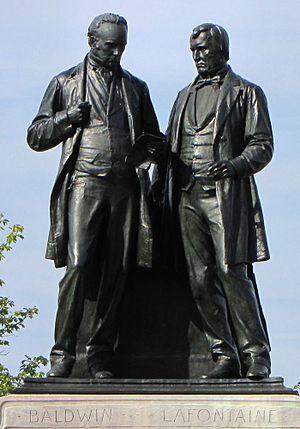 English: Statue of Robert Baldwin and Louis-Hi...