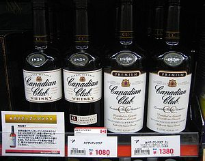 Bottles of Canadian Club whisky for sale in Fu...