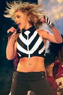 "Britney Spears performing at the National Mall during the ""NFL Kickoff Live 2003"" Concert."