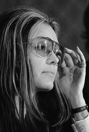 Gloria Steinem at a meeting of the Women's Act...