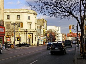 English: Looking east down Dundas Street West ...