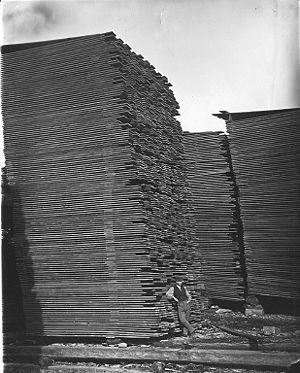 Lumber piles in Ottawa, Canada.