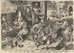 The Alchemist; after Breugel