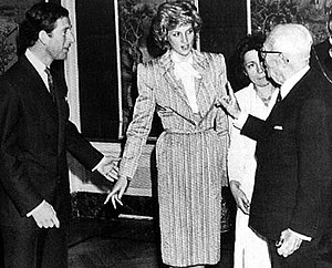 Princess Diana in 1985 wearing a dress with sh...