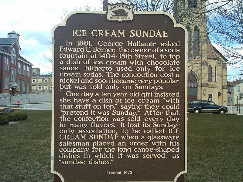 File:Wisconsin Historical Marker ice cream sundae.jpg