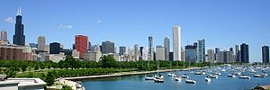 Downtown from the lakefront, Chicago, IL, USA
