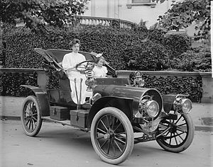 """Mrs. F.S. Bliven in auto"". Photo sh..."
