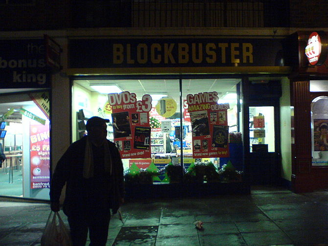 English: A Blockbuster Video rental shop in th...