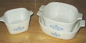 Corningware casserole dishes.