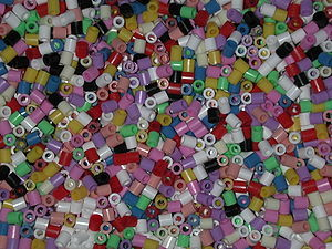 Close-up of a bucket full of midi-sized Hama b...