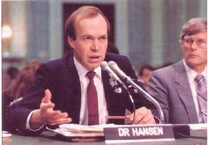 James Hansen giving testimony before the Unite...