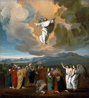English: Jesus ascending to heaven