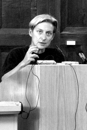 English: Judith Butler at a lecture at the Uni...
