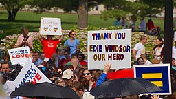 256px-Marriage_equality_support_sign_thanking_Edith_Windsor_%289144992760%29 The History of Homosexuality: Same-Sex Marriage in the USA