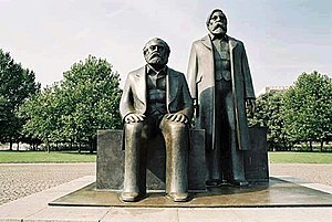 English: Statue of Marx and Engels. A part of ...