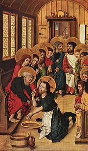 Christ Washing the Feet of the Apostles by Meister des Hausbuches, 1475 (Gemäldegalerie, Berlin).