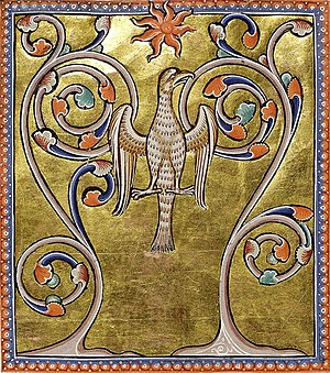Folio 55 verso : Phoenix (Fenix) rising from i...
