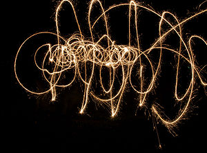 Sparklers with a slow shutter speed.