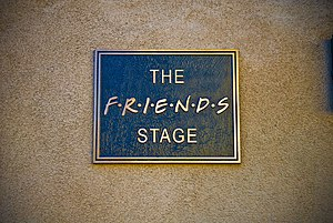 """The Friends Stage"" plaque, outside ..."