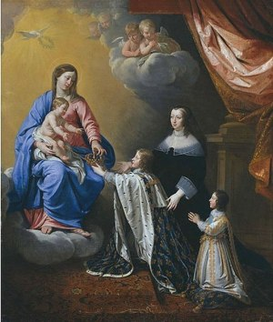 File:The crown of France being offered to the young Louis (future King Louis XIV) by the Virgin Mary while his mother (Anne of Austria) and brother (Philippe, Duke of Anjou) attend by Philippe de Champaigne.jpg