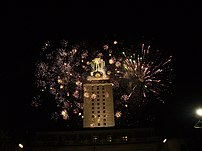 Fireworks display at the UT tower during Diwal...