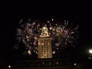 Fireworks display at the UT tower during Diwal...