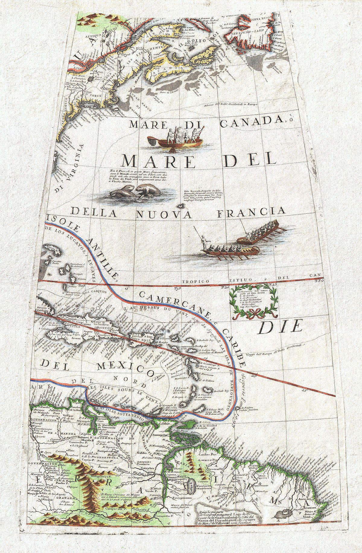 File 1688 Coronelli Globe Gore Map Of Ne North America The West Indies And Ne South America Geographicus Neamericagore Coronelli 1688 Jpg Wikimedia Commons