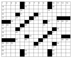 Sample American-style crossword grid