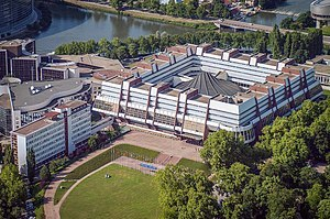 Council of Europe Palais de l'Europe aerial vi...