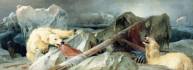 Artystyczne wyobrażenie końca wyprawy Erebusa i Terroru.