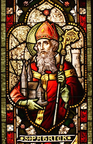 English: Saint Patrick stained glass window fr...