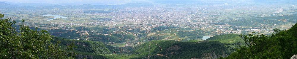 Panoramic view of Tirana as seen from Dajti Mountain.