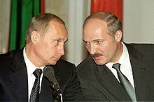 Alexander Lukashenko with Russian President Vladimir Putin during a news conference in 2002.
